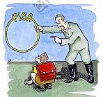 Pisa-Studie in Form eines Reifens durch den ein Schüler springen soll