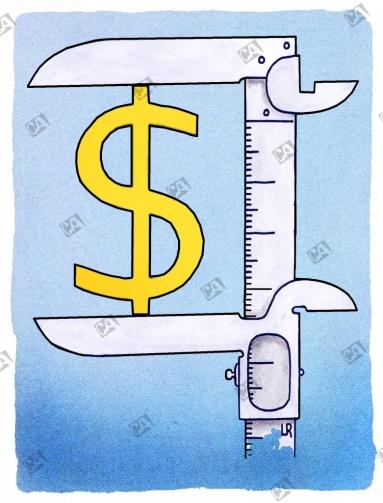 Schieblehere mit Dollar-Zeichen