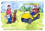 Ein Golfspieler als Anhalter